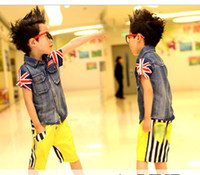 3-8 years With Pattern Boy 2013 summer boy jacket Popular boy flag style shirt Summer clothes Children's clothes