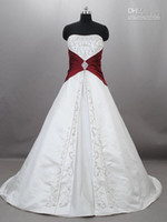 Wholesale Actual Image White Bateau Neckline A Line Wedding Dresses Strapless Red Applique Satin Ball Gown Wedding Dresses Bridal dress GA33