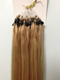 Wholesale Remy Micro Ring Easy Loop Inches Long Remy Human Hair Extension Silky Straight Light Gold Blonde
