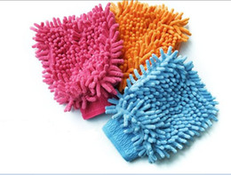 Wholesale 100PCS LOT Microfiber Chenille Car Wash Glove Prvate Household Cleaning Cloth Single-Sided Auto Mitt free shipping