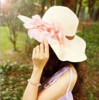 Wholesale 2013 Fashion Stylsih Women Summer Hats Cap floppy Wide Large Brim Summer Beach Sun Hat Straw Beach caps with flower