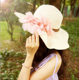 2013 Fashion Stylsih Women Summer Hats Cap floppy Wide Large Brim Summer Beach Sun Hat Straw Beach caps with flower