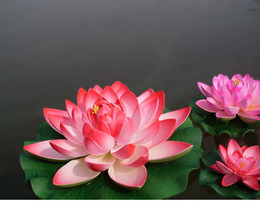 Wholesale Diameter cm Artificial Lotus Flower Water Pool Fish Tank Decor Plants Craft Supplies for Wedding Party Home Decoration