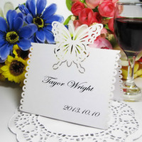 Wholesale 15 cm White Pearl Paper Butterfly Cut out Place Card Wedding Table Cards