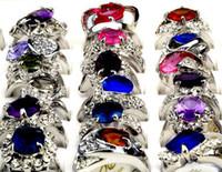 Wholesale 20Pcs Elegant Lady s Wedding Rings Crystal Gemstone Bride Rings White Gold Gemstone Ring Silver Rings Fashion Jewelry CZ40