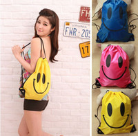 Wholesale Fashion swimwear bags colors Smiling Face Swimming Bag Convenient Waterproof Travel Rope Outside Backpack with tracking number