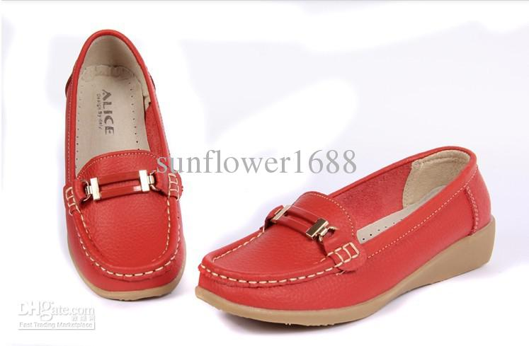 Red Real Cowhide Wedges Non Slip Comfortable Leisure Female Goose ...