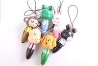 Wholesale ball point pen cute ball pen wooden ball pen keychain cartoon animal mobile phone chain