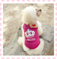 Wholesale Cute Pet Dog Clothes Princess Crown Puppy T Shirt Apparel Rose Red Size