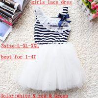 Wholesale hot sale new summer girls tutu dresses girls sleeveless lace dress girls white green pink strip bow tutu skirts dress for T pc Melee