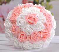Wholesale 24pcs Artificial Flower fake PE Rose flower Bride Holding bouquet for wedding Decor bundle in