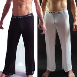 Wholesale New Comfy Sexy Men s Male See through Mesh Underwear Lingerie GYM Causal Long Trousers Pants Transparent Shorts Hot Bottoms Black White