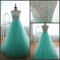 Real Photos actual product - 2015 Graduation Dresses Actual Product High Collar Light Sky Blue White Lace and Tulle Puffy Long Prom Dresses Formal Gown Online Shopping
