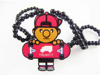 Wholesale Hip hop necklace wood necklaces painted hand beaded necklace skateboard boy pendant necklace