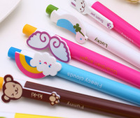 Wholesale Lovely Cute cartoon multi design option blue ink mm Ball Pen point Stationery plastic office