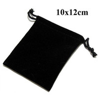 Wholesale 10x12cm Drawstring Black Velvet Bags Pouches Jewelry Bags