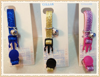 Wholesale pet bling Gliitter Cat Collar with safety breakaway buckle silver bell blue pink yellow
