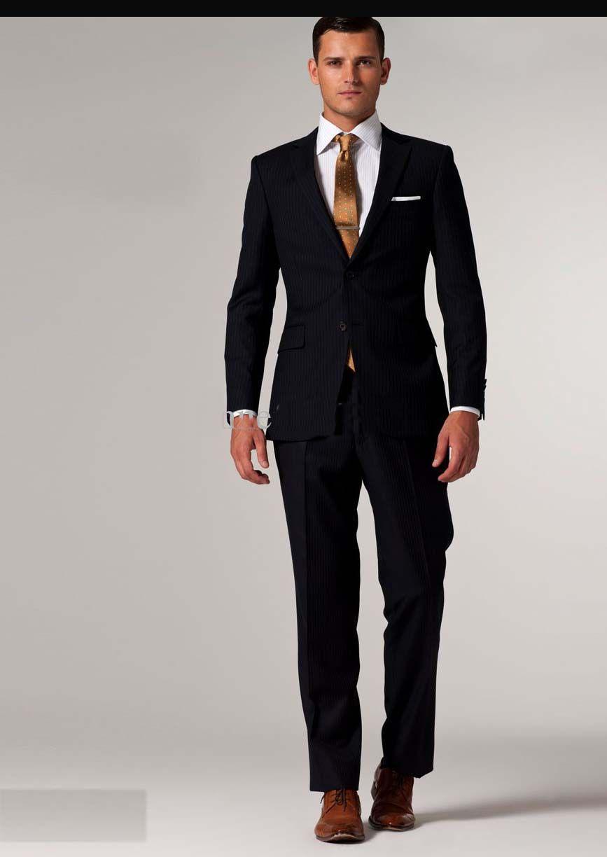 Colour Suits 2016 Fashion Suit Men Business Suit Navy Stripe Suit ...