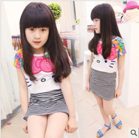 Short Sleeve children smock - Children cat stripes girls long section of the T shirt child smock two piece sets dandys