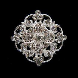 1.2 Inch Sparkly Silver Plating Clear Rhinestone Crystal Diamante Small Flower Brooch