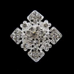 Silver Tone Zinc Alloy Rhinestone Crystal Square Pin Brooch