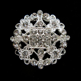 Silver Plated Clear Rhinestone Crystal Round Flower Pin Brooch