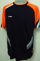 Wholesale new Li Ning men s Round neck badminton T shirt V3606 black blue yellow