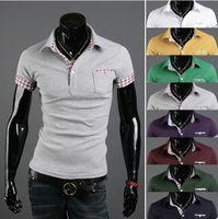 men's polo shirts - 2013 new Summer colours Men s T shirts Korean Casual Slim Folding sleeve Men s Polo shirts Men s Short Sleeve t shirts Grey