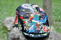 Wholesale National trend hat machine embroidery embroidered satin cap embroidered cap black