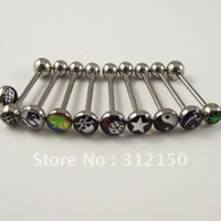 Wholesale 24pcs tongue barbell ring logo tongue nail body jewelry piercing jewellery fashion jewelry