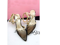 Wholesale Wholelsales womens ladys new spring rivet rome fashion sex high heel mesh leather sandals shoes