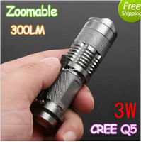 Wholesale 3W LM CREE Q5 Mini LED Flashlight Torch Adjustable Focus Zoom led flash Light Lamp powered by