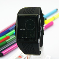 Analog-Digital Rubber  Super Cheap Ots AUDI black temptation male watches sports waterproof electronic watch male charm