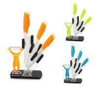 Wholesale quot quot quot Knives Peeler Acrylic Stand High Quality Gift Ceramic Kitchen Knife Set Holder With Colors CS B