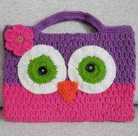 Wholesale European Hot Crochet OWL Purse Handbag Girl Kids Infant Crochet Handbags Knitted Bag Children flower colorful Purse t5208