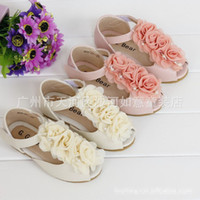 Wholesale Children Shoes Lace Flowers Roses Pearls Female Child Sandals Princess Kids Fish mouth Shoes Beige Pink Size