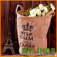 achat en gros de paniers cadeaux gros-Paniers de stockage d'épicerie sacs de rangement à la maison, sacs en coton de débris, barils de stockage cadeau en gros couronne logo JJ0900