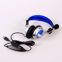 Wholesale Deluxe HI FI USB Headphone Microphone Earphone Headset with Microphone for PC Laptop Notebook