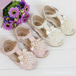 Wholesale The Latest Fashion Girls Kids Toddlers Shoes Pearls Lace Bow Classy Children Shoes Soft Princess Fish mouth Summe Party Shoes Bontique