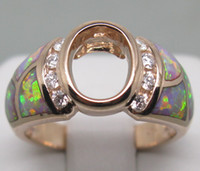 Ring Oval Cut White H-I SOLID 14K ROSE GOLD Natural DIAMOND &Wedding Engagement OPAL SETTING SEMI RING MOUNT G090486