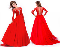 Wholesale New Arrivals Bateau Long Sleeves Chiffon Floor length A line Sheer Red Prom Dress Long Beaded Evening Dress Sexy Graduation Dress Cheap