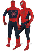 Wholesale Halloween Full Body Red and Navy Blue amp blue Spiderman Zentai Costume Fancy Party Dress cospaly suit