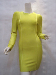 Wholesale Yellow Long Sleeve Bodycon Bandage Dress LIME GREEN LONG SLEEVE BANDAGE DRESS