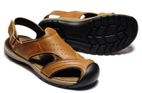 Wholesale Luxury quality men leather sandals head layer cowhide wrapped head Velcro back sport casual sandal US6