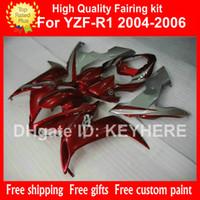achat en gros de yamaha kits de corps carénages-Carrosserie carrée sur mesure Carrosserie pour kit carénage YAMAHA YZF 1000 2004 2005 2006 YZF R1 YZFR1 04 05 06 Pièces moto argent / rouge