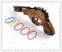 Wholesale Novelty Rubber Band Launcher Wooden Wood Hand Pistol Gun Shooting Toy Gifts Wooden hand gun