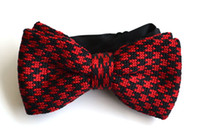 adjustable bow tie pattern - Men Neck Knitted Bowtie Bow Tie Black With Red Pre Tied Adjustable Patterned Bow Ties
