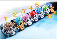 Wholesale 2013 HOT Skull Rhinestone Ring table stainless steel elastic ring flip quartz watch