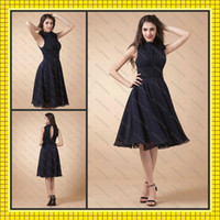 Wholesale 2016 Vintage Inspired Little Black Dresses High Collar Hand Made Flower Chiffon Knee Length Cheap Graduation Party Ceremony Dresses