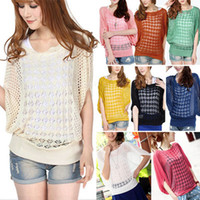 Wholesale Fashion Womens Batwing Sleeve Loose Hollow Pullover Knit Tops Jumper sweater Sweatshirts ax73